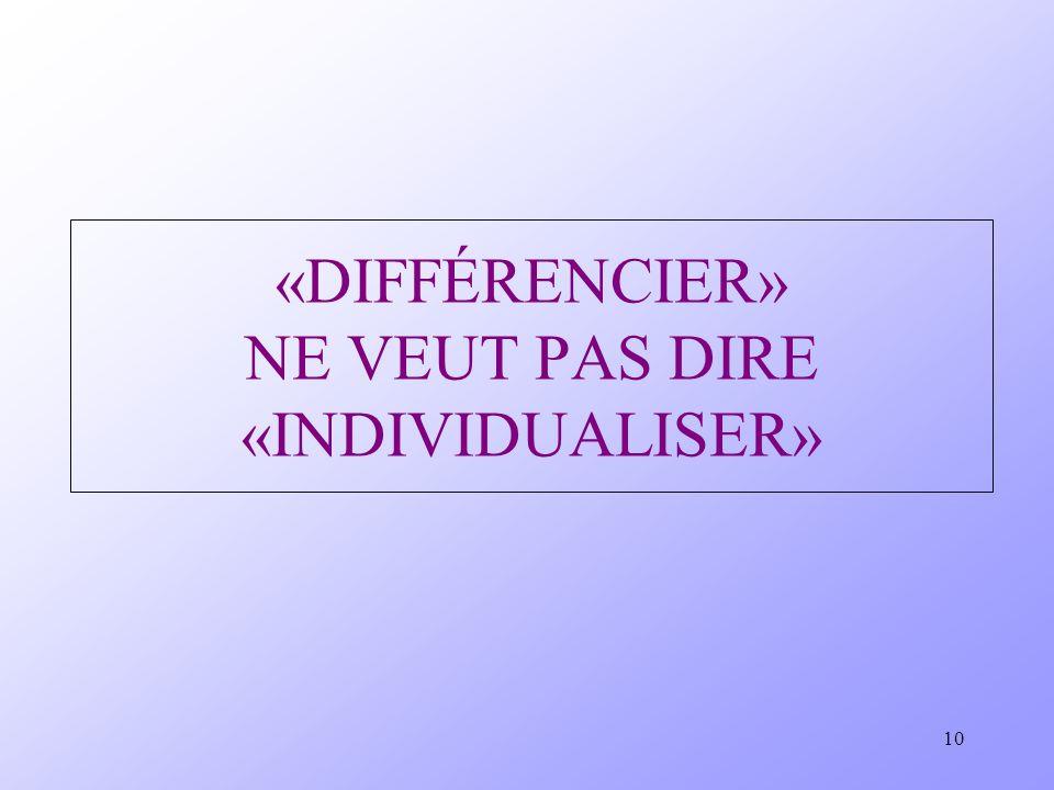 «DIFFÉRENCIER» NE VEUT PAS DIRE «INDIVIDUALISER»