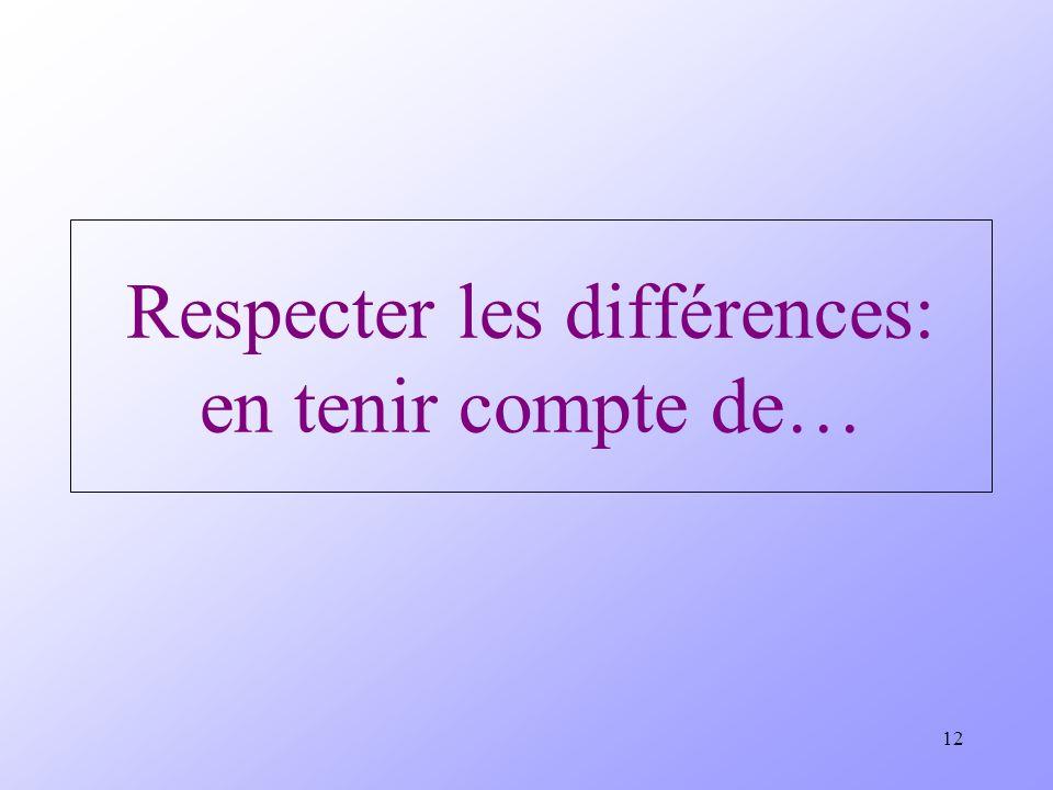 Respecter les différences: en tenir compte de…