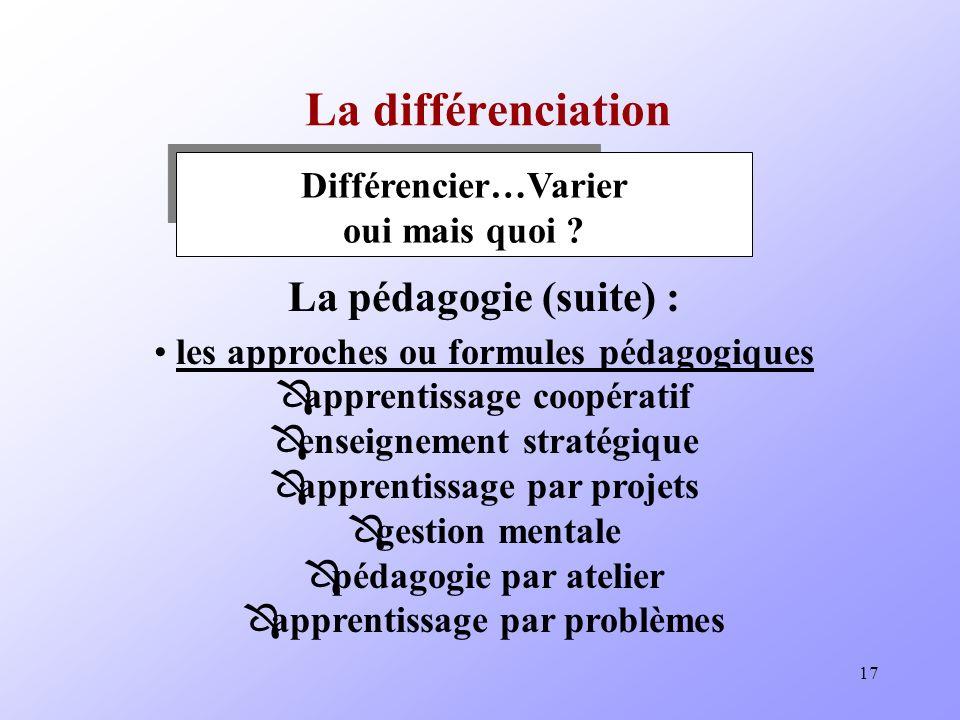 La différenciation La pédagogie (suite) :