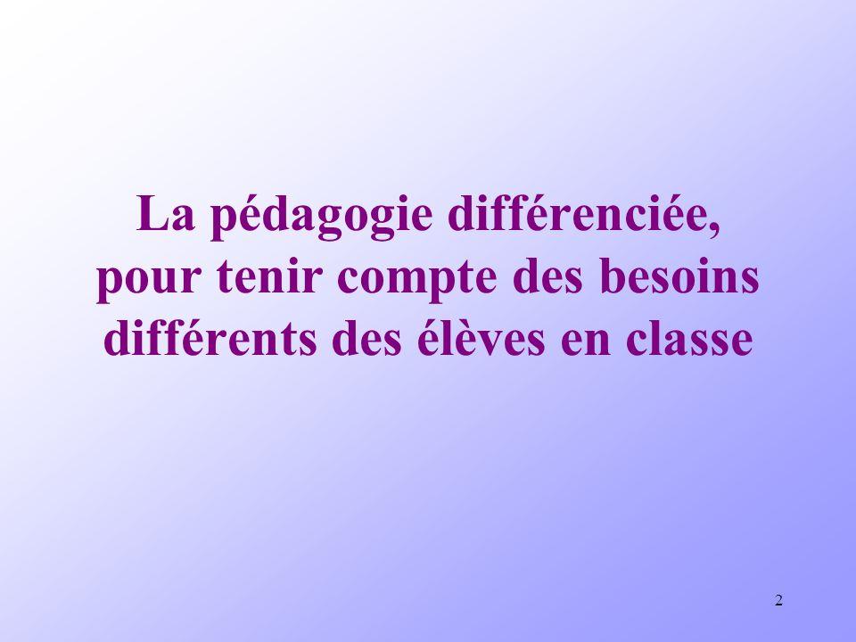 La pédagogie différenciée, pour tenir compte des besoins différents des élèves en classe