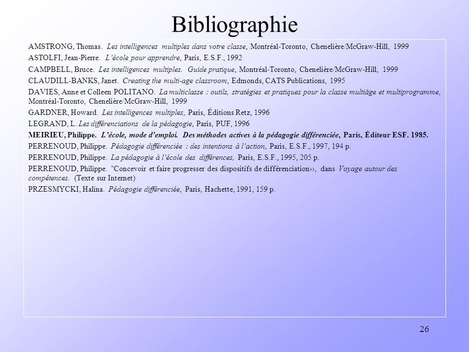 Bibliographie AMSTRONG, Thomas. Les intelligences multiples dans votre classe, Montréal-Toronto, Chenelière/McGraw-Hill, 1999.