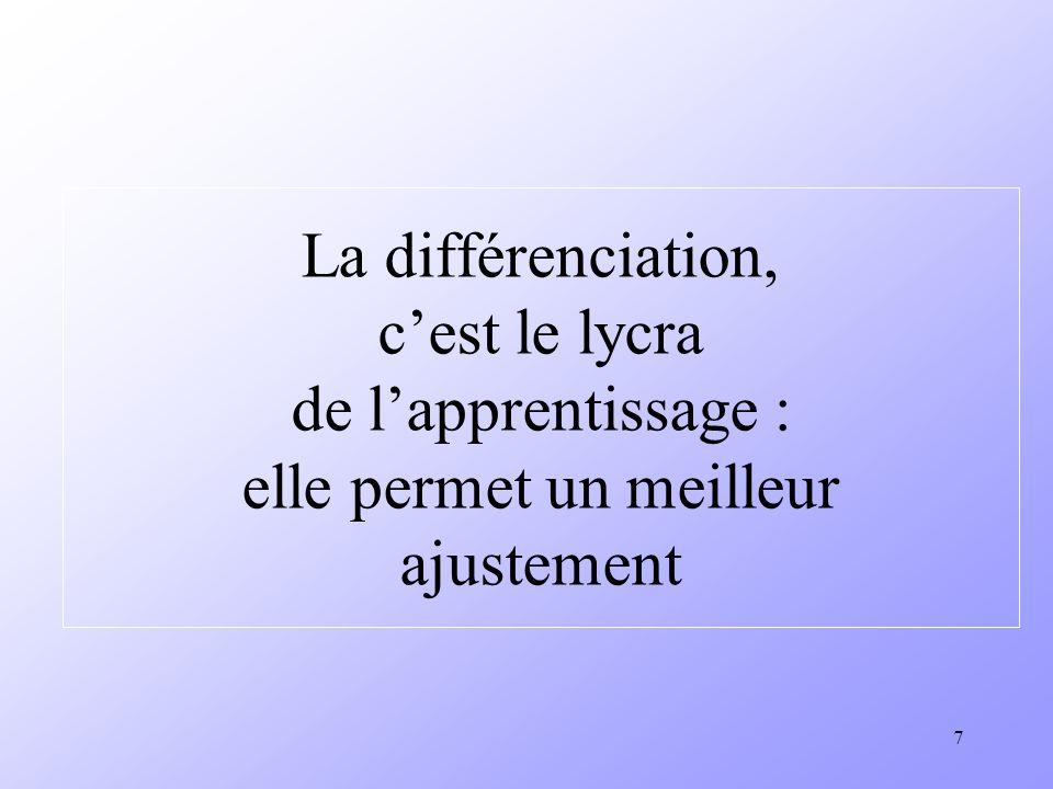 La différenciation, c'est le lycra de l'apprentissage : elle permet un meilleur ajustement