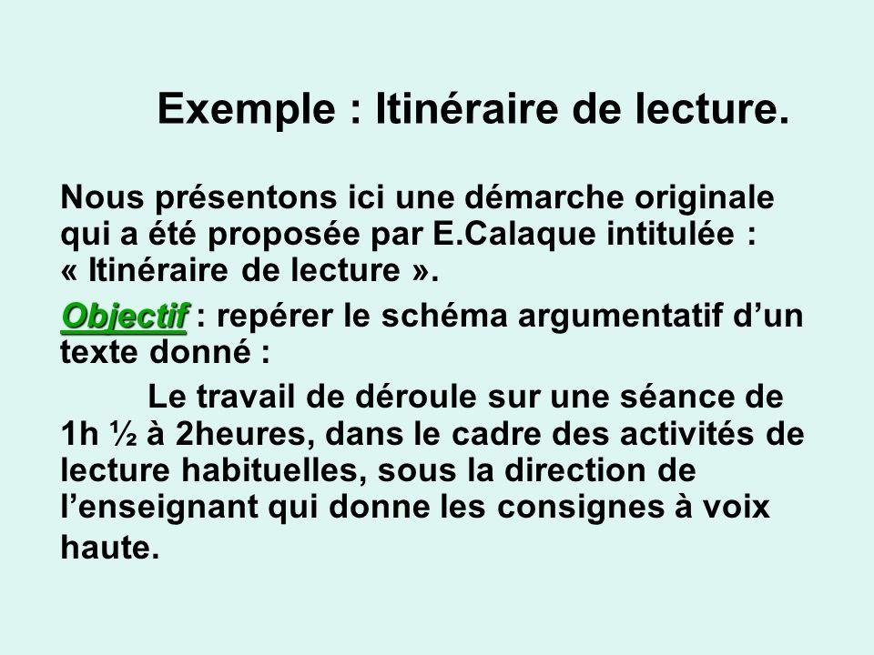 Exemple : Itinéraire de lecture.