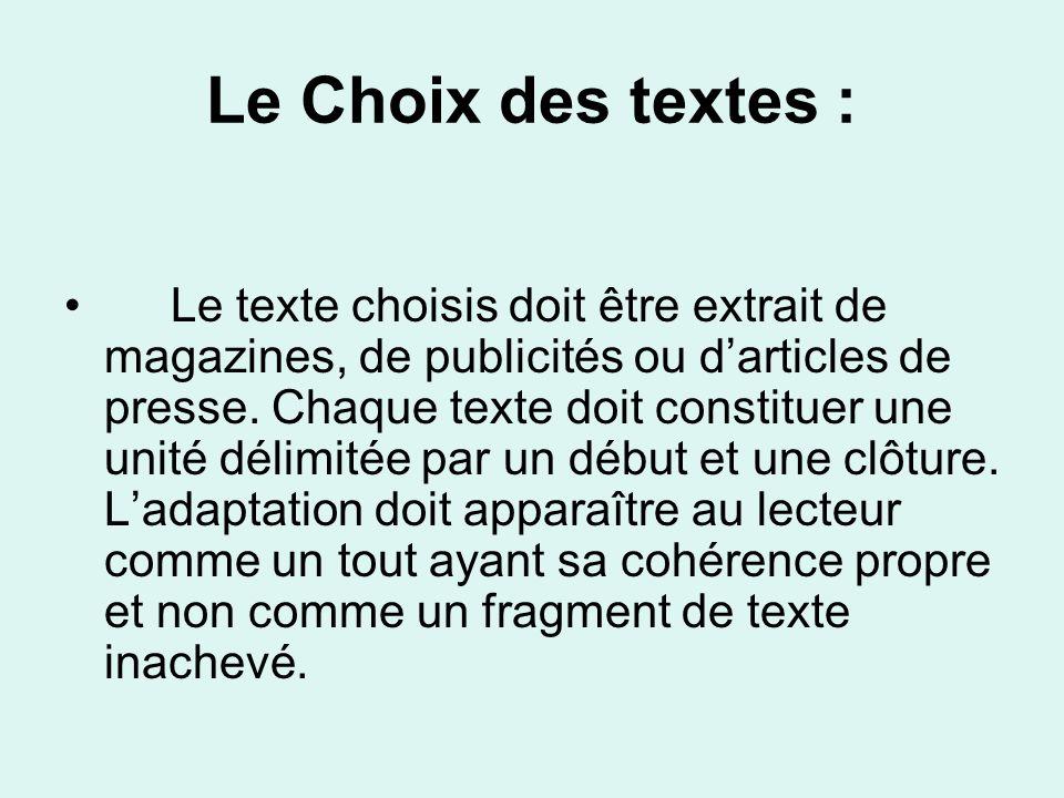 Le Choix des textes :