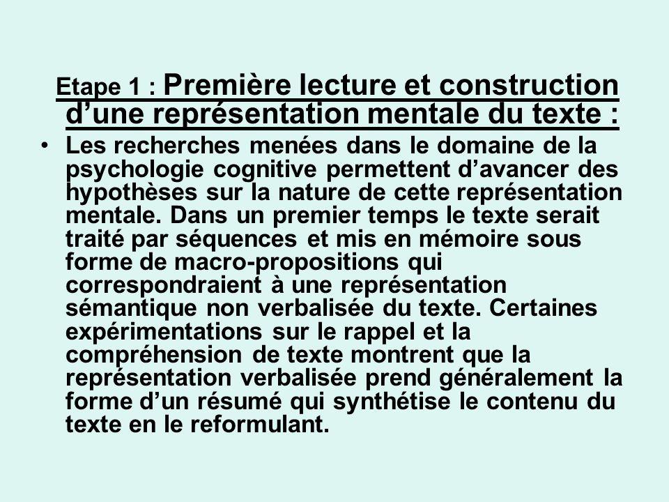 Etape 1 : Première lecture et construction d'une représentation mentale du texte :