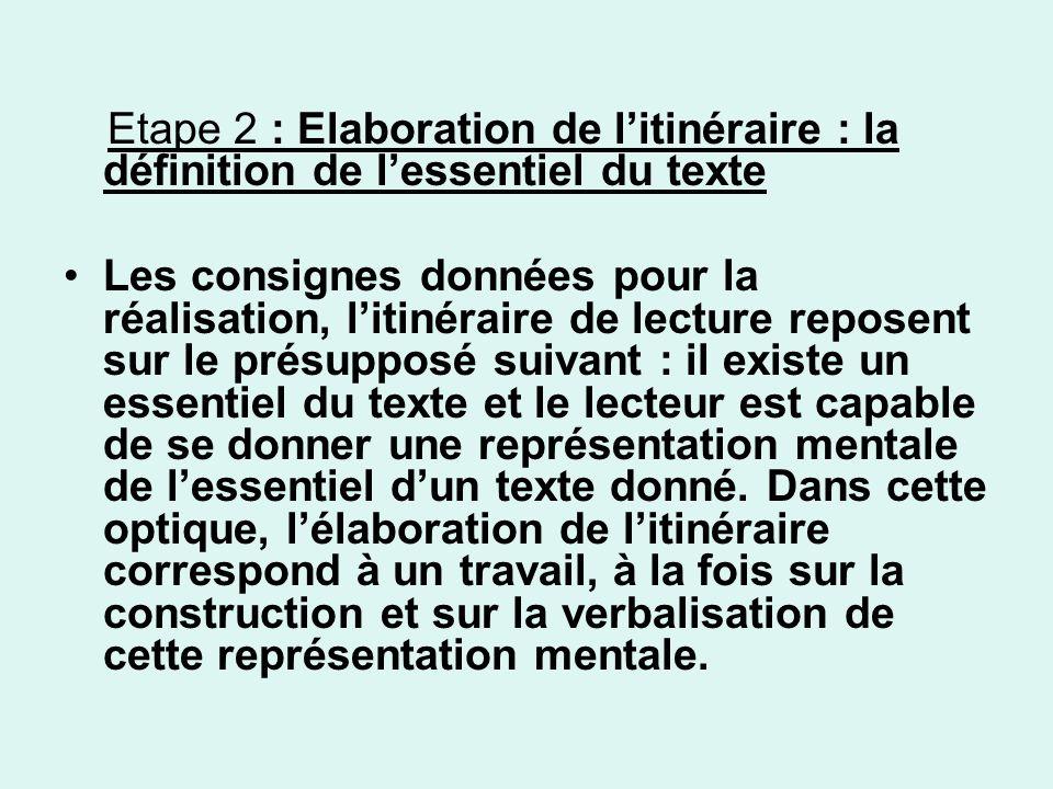 Etape 2 : Elaboration de l'itinéraire : la définition de l'essentiel du texte