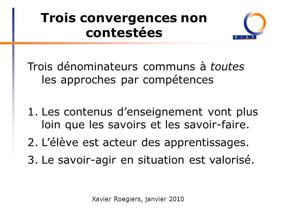 Trois convergences non contestées