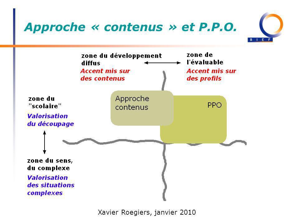 Approche « contenus » et P.P.O.