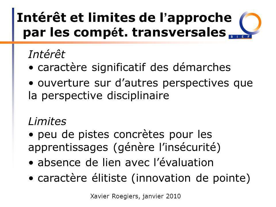 Intérêt et limites de l'approche par les compét. transversales