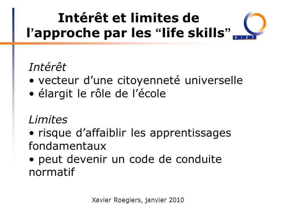 Intérêt et limites de l'approche par les life skills