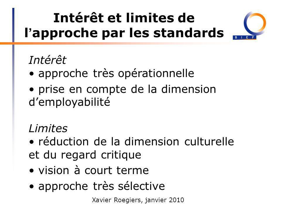 Intérêt et limites de l'approche par les standards