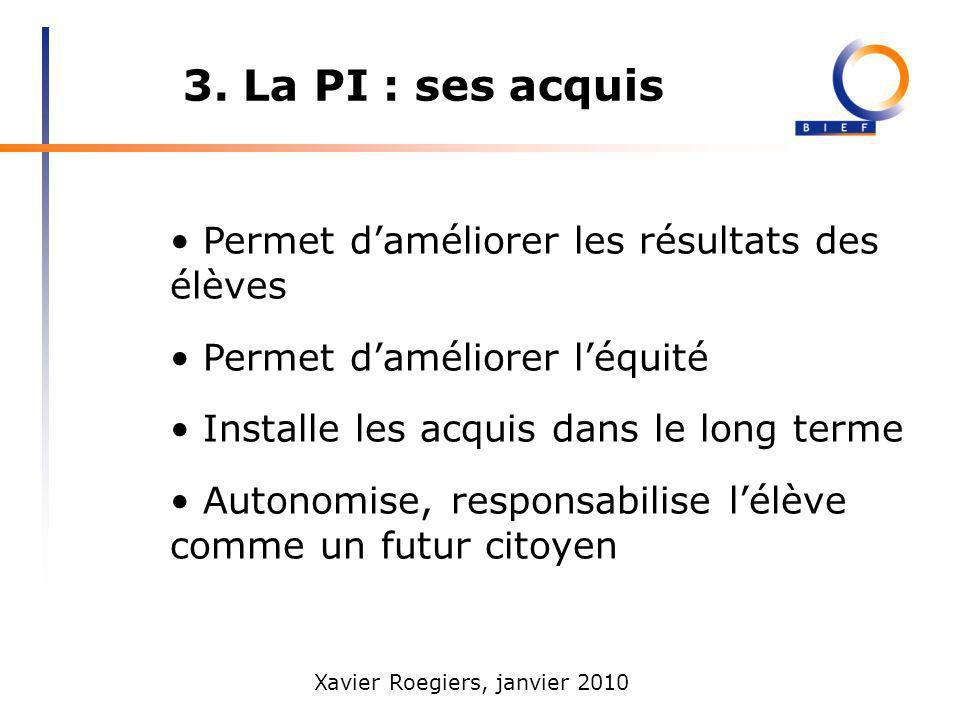 3. La PI : ses acquis • Permet d'améliorer les résultats des élèves