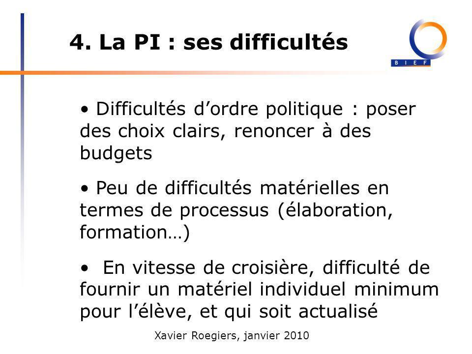 4. La PI : ses difficultés • Difficultés d'ordre politique : poser des choix clairs, renoncer à des budgets.