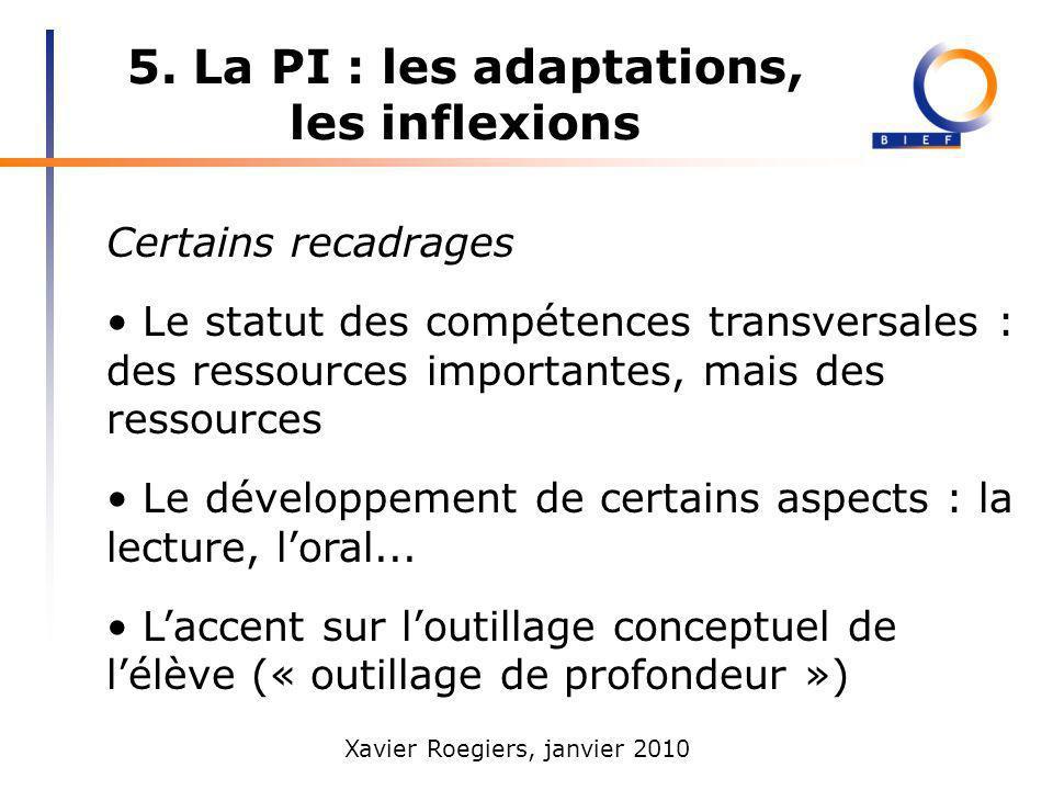 5. La PI : les adaptations, les inflexions