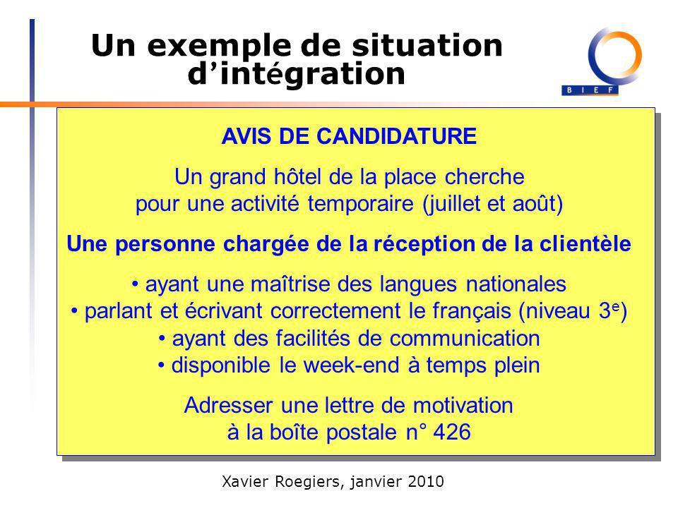 Un exemple de situation d'intégration