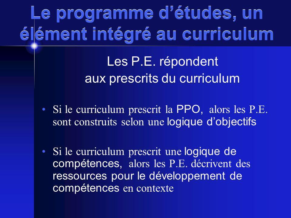 Le programme d'études, un élément intégré au curriculum