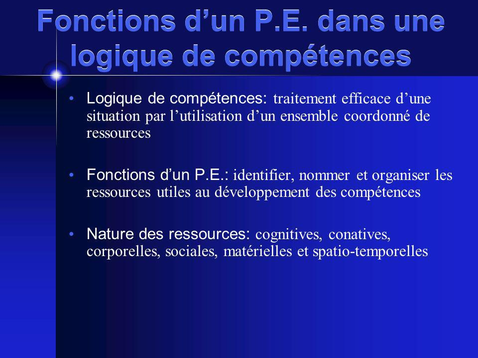 Fonctions d'un P.E. dans une logique de compétences