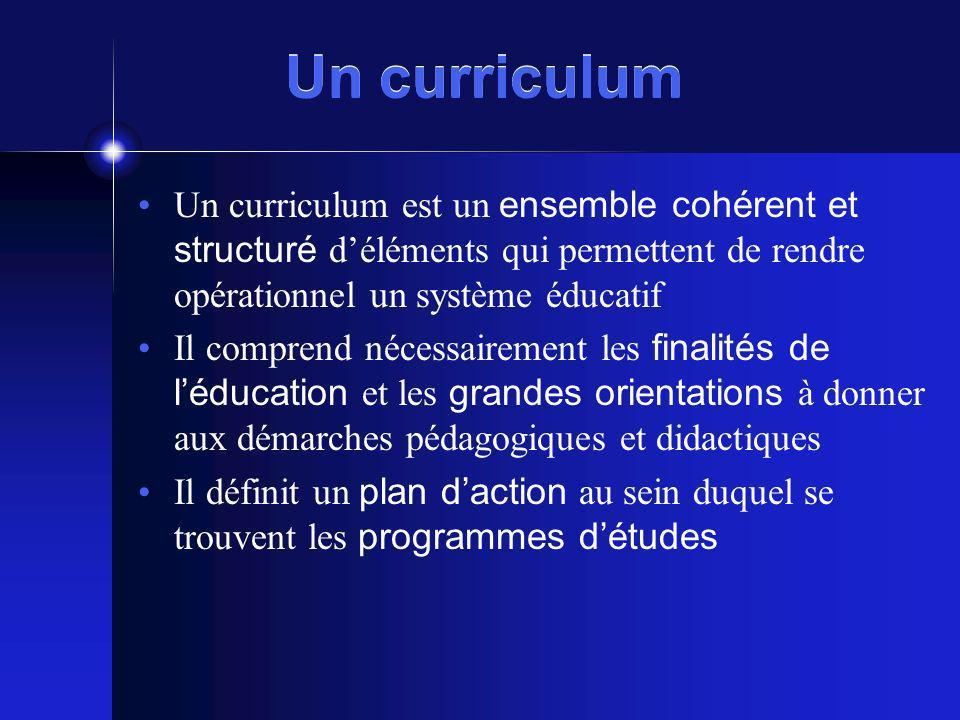 Un curriculum Un curriculum est un ensemble cohérent et structuré d'éléments qui permettent de rendre opérationnel un système éducatif.