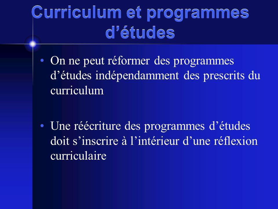 Curriculum et programmes d'études
