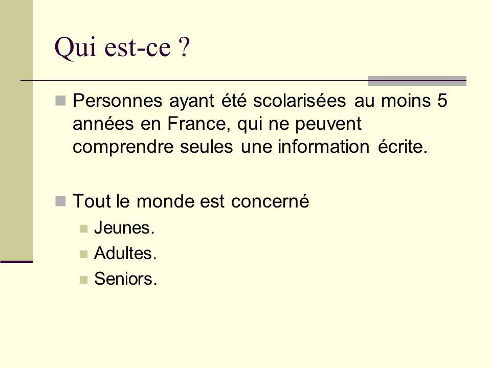 Qui est-ce Personnes ayant été scolarisées au moins 5 années en France, qui ne peuvent comprendre seules une information écrite.