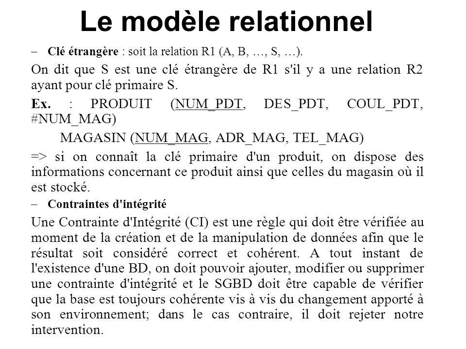 Le modèle relationnel Clé étrangère : soit la relation R1 (A, B, …, S, …).