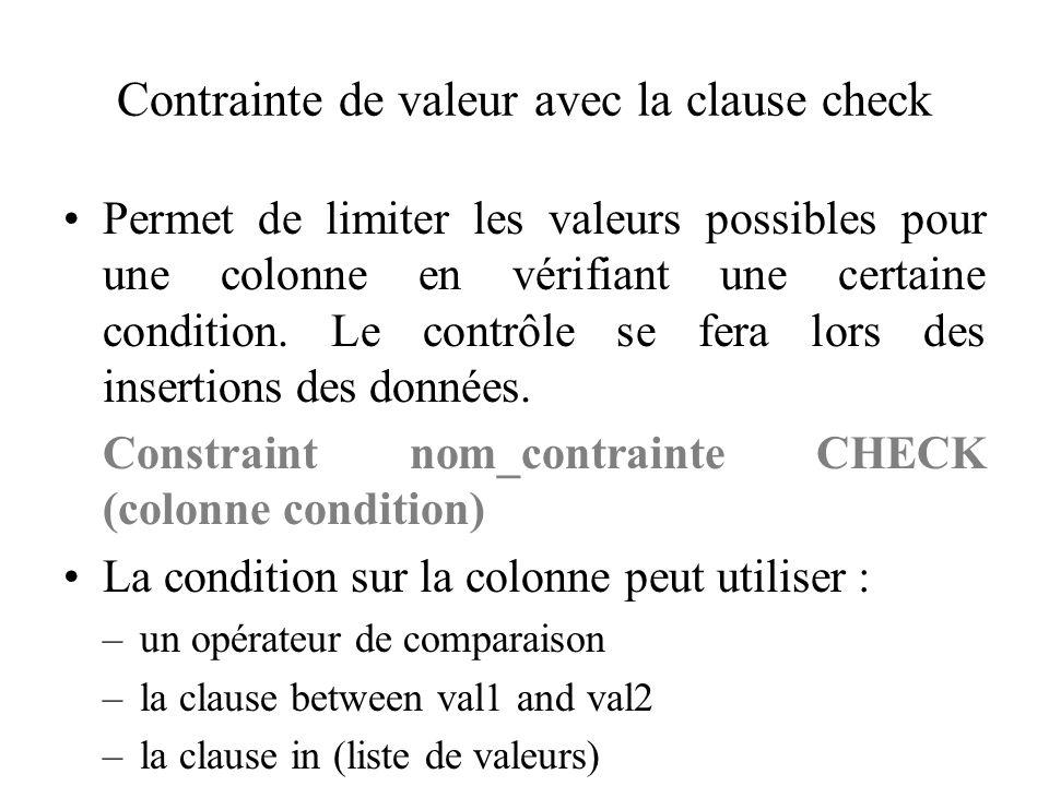 Contrainte de valeur avec la clause check