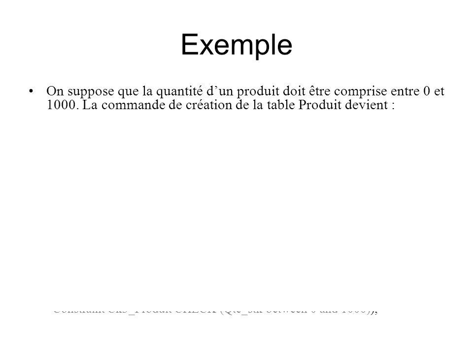 Exemple On suppose que la quantité d'un produit doit être comprise entre 0 et 1000. La commande de création de la table Produit devient :