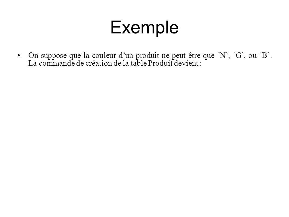 Exemple On suppose que la couleur d'un produit ne peut être que 'N', 'G', ou 'B'. La commande de création de la table Produit devient :