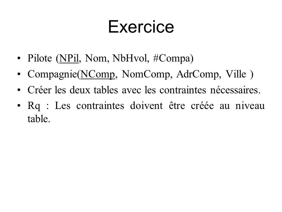 Exercice Pilote (NPil, Nom, NbHvol, #Compa)