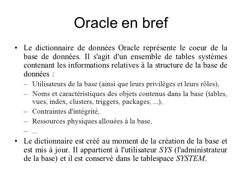 Oracle en bref