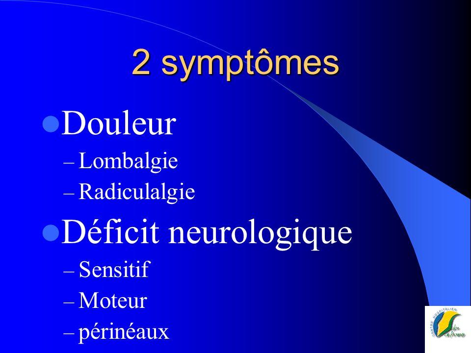 2 symptômes Douleur Déficit neurologique Lombalgie Radiculalgie