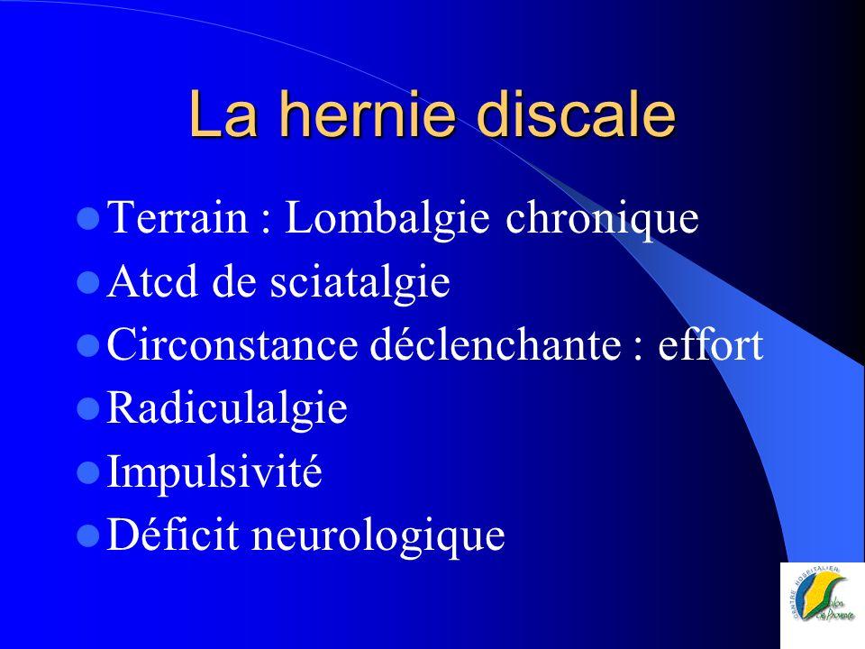 La hernie discale Terrain : Lombalgie chronique Atcd de sciatalgie