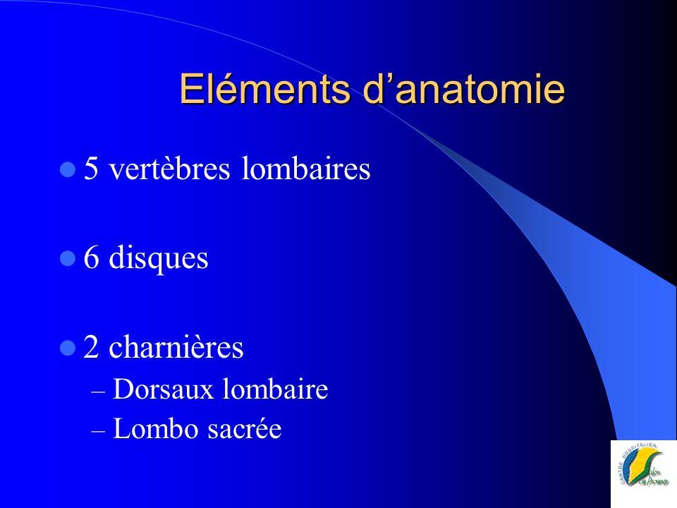 Eléments d'anatomie 5 vertèbres lombaires 6 disques 2 charnières
