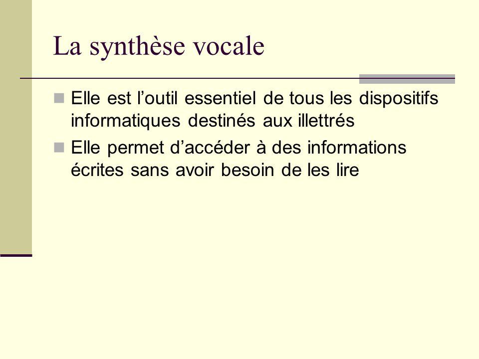 La synthèse vocale Elle est l'outil essentiel de tous les dispositifs informatiques destinés aux illettrés.