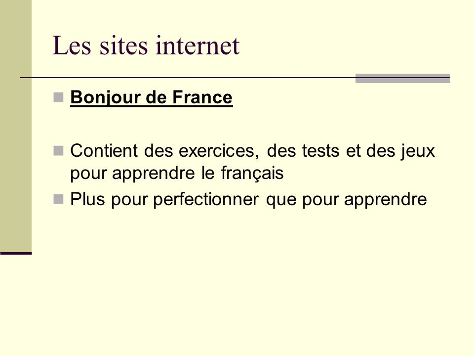 Les sites internet Bonjour de France