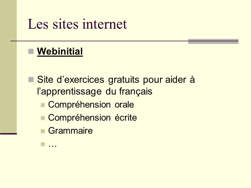 Les sites internet Webinitial