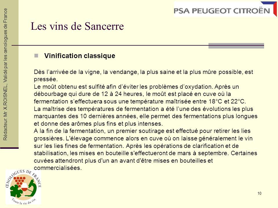 Les vins de Sancerre Vinification classique