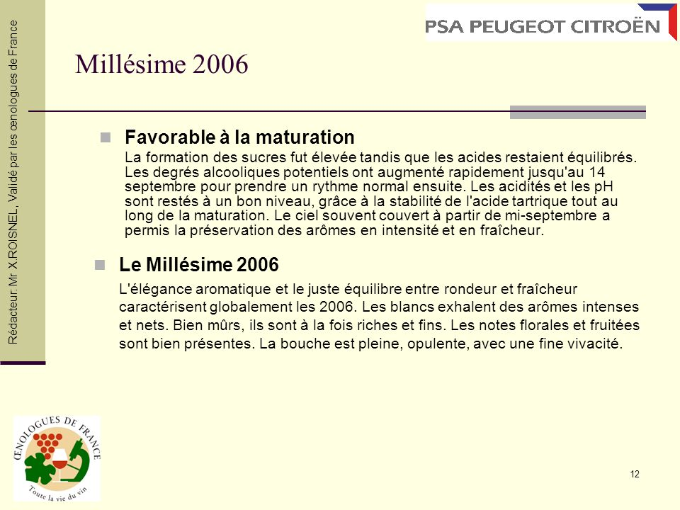 Millésime 2006 Favorable à la maturation Le Millésime 2006