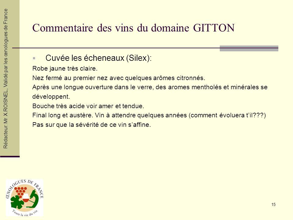 Commentaire des vins du domaine GITTON
