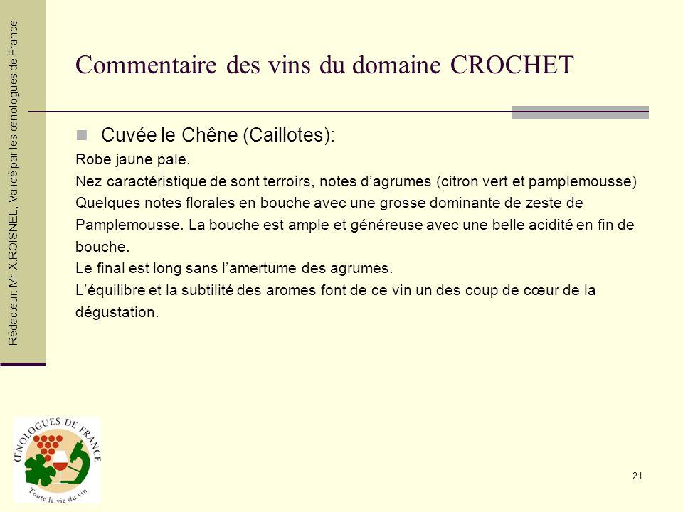 Commentaire des vins du domaine CROCHET