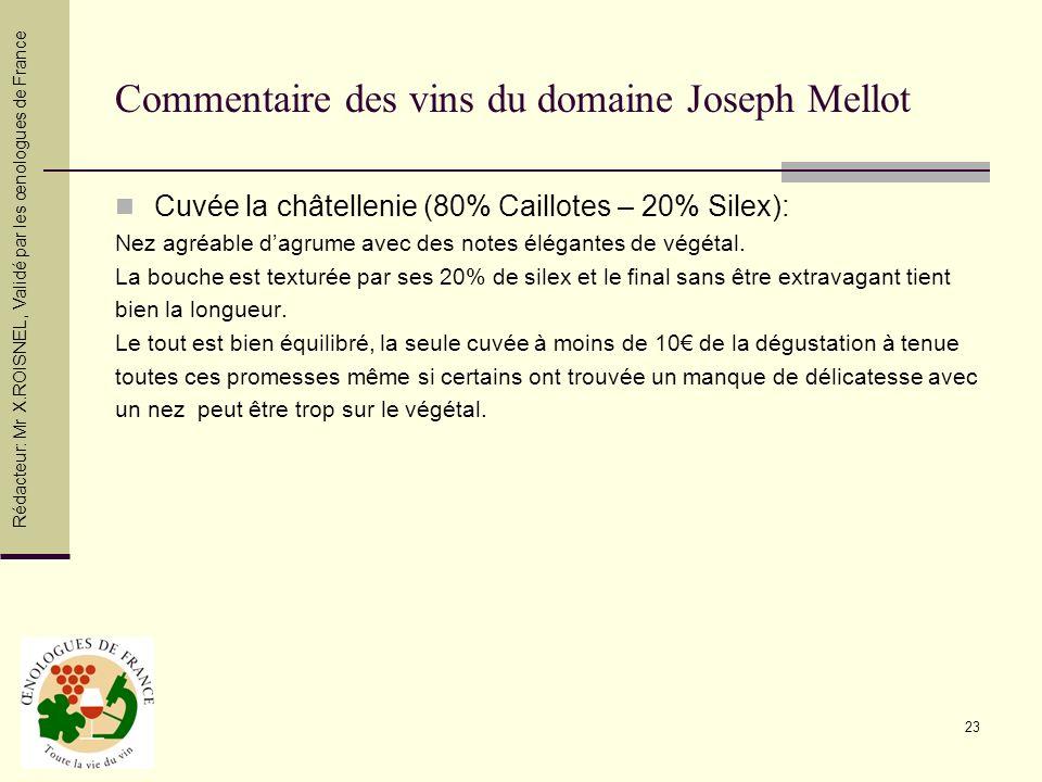 Commentaire des vins du domaine Joseph Mellot