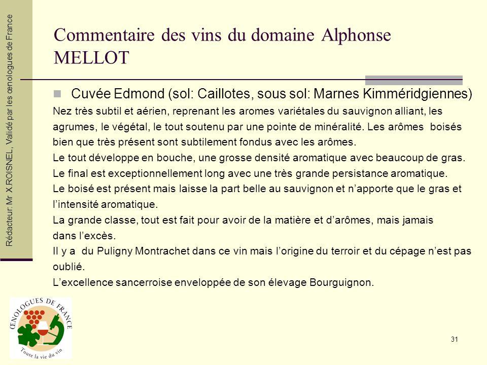 Commentaire des vins du domaine Alphonse MELLOT