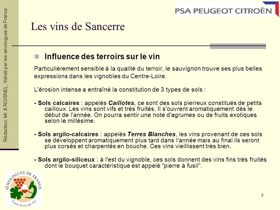 Les vins de Sancerre Influence des terroirs sur le vin
