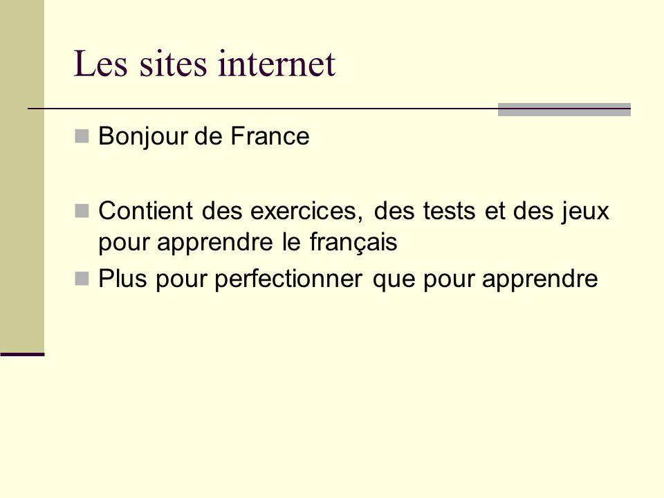 Les sites internet Bonjour de France
