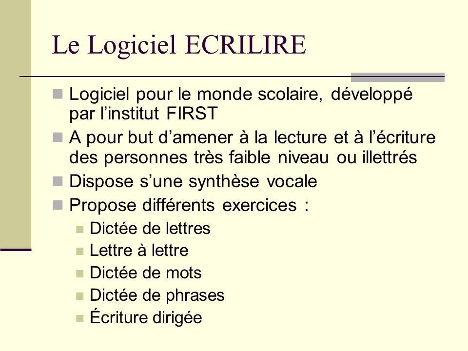 Le Logiciel ECRILIRELogiciel pour le monde scolaire, développé par l'institut FIRST.