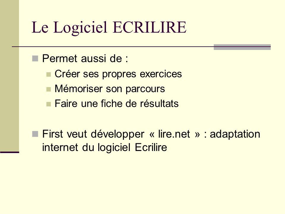 Le Logiciel ECRILIRE Permet aussi de :