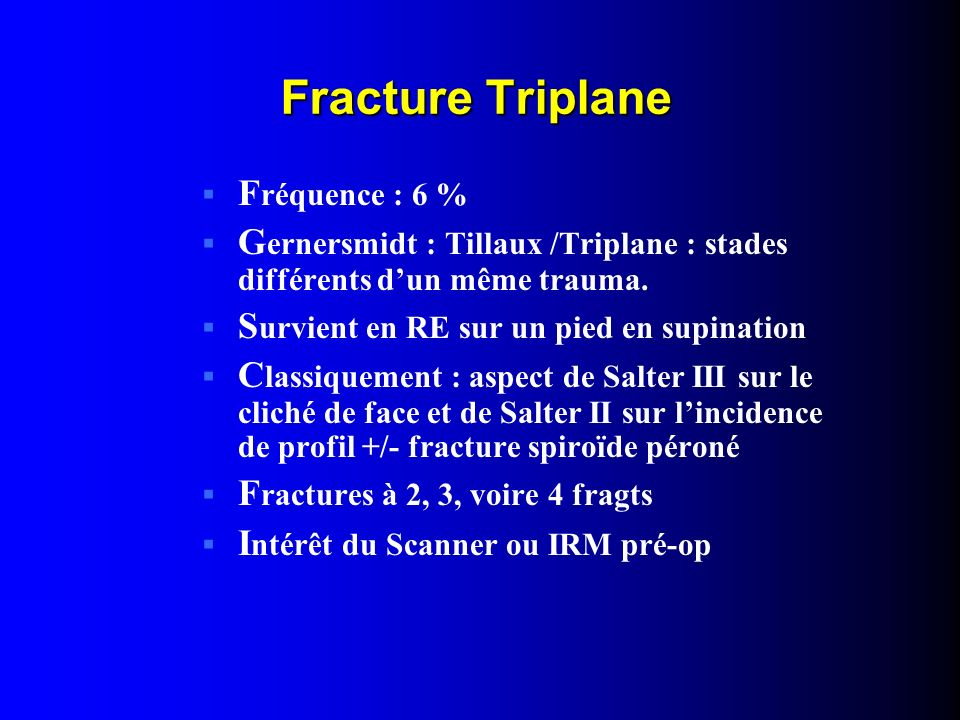 Fracture Triplane Fréquence : 6 %