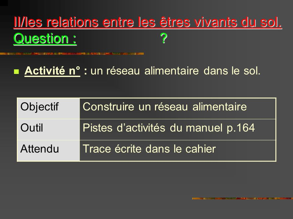 II/les relations entre les êtres vivants du sol. Question :