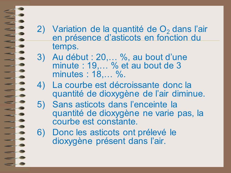 Variation de la quantité de O2 dans l'air en présence d'asticots en fonction du temps.