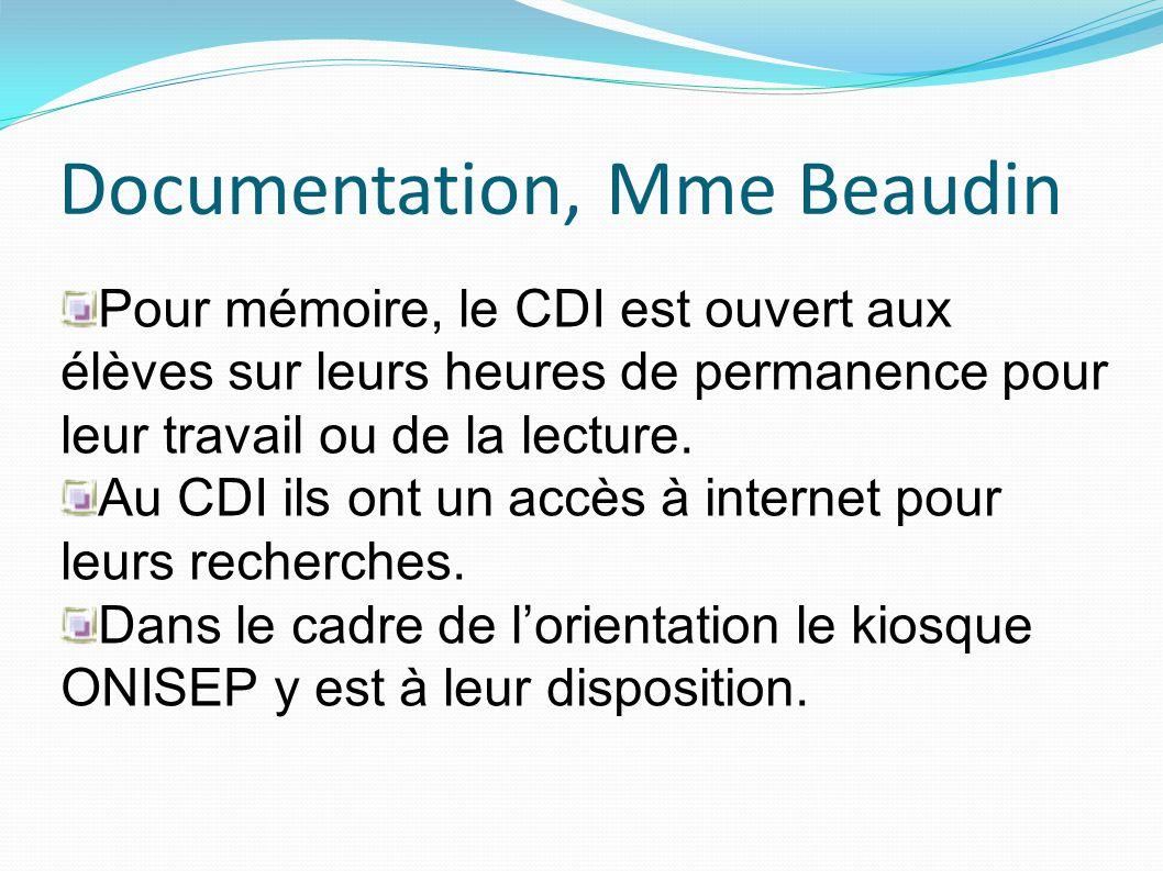 Documentation, Mme Beaudin